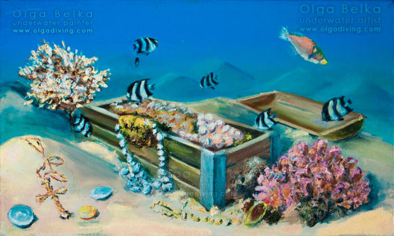 Underwater painting by Olga Belka - A chest with fairy tales
