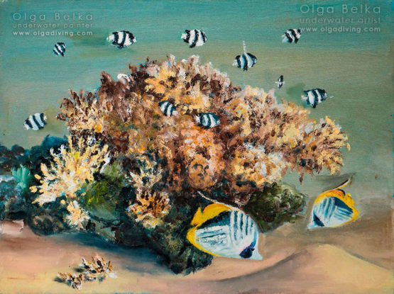 Underwater painting by Olga Belka - Almost zebras