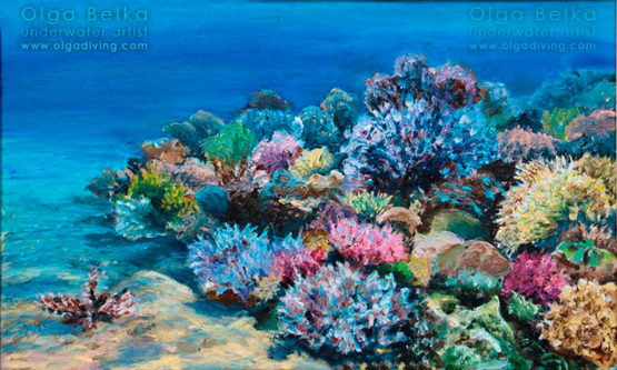 Underwater painting by Olga Belka - Blooming of the day