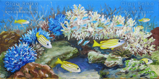 Underwater painting by Olga Belka - Blue and yellow