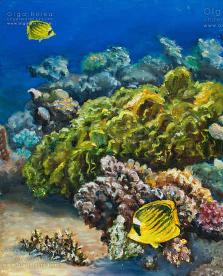 Underwater painting by Olga Belka - Curly sea