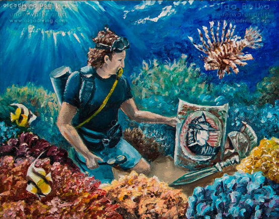 Underwater painting by Olga Belka - Diving legionaries