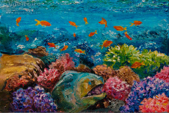 Underwater painting by Olga Belka - Face to face