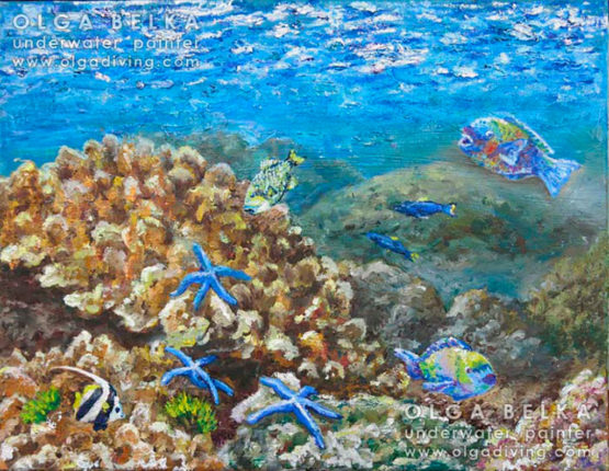 Underwater painting by Olga Belka - Glare of the sun