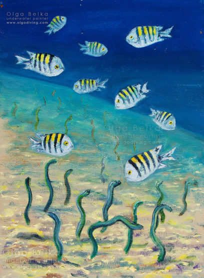 Underwater painting by Olga Belka - Moon gardens