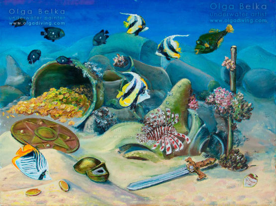 Underwater painting by Olga Belka - Neptune's treasures