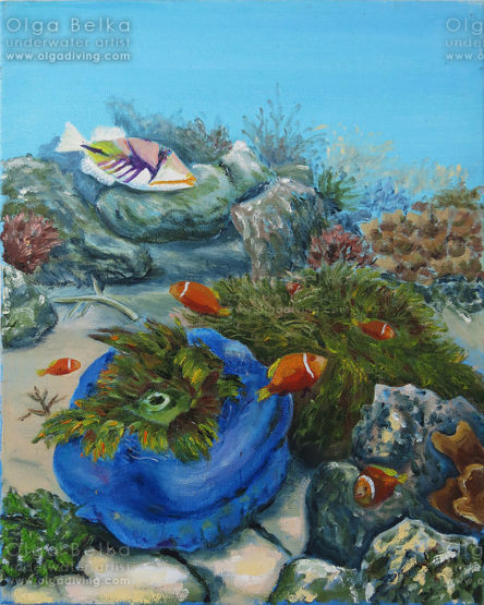 Underwater painting by Olga Belka - Sleeping anemone