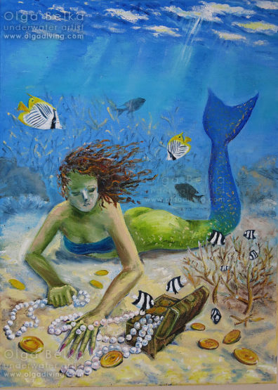 Underwater painting by Olga Belka - Stealing treasure