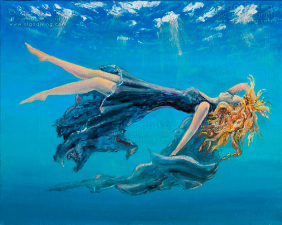 Underwater painting by Olga Belka - The birth of Black Venus