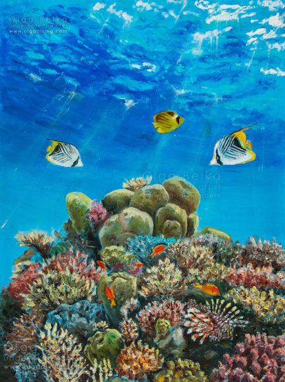 Underwater painting by Olga Belka - Toward the light