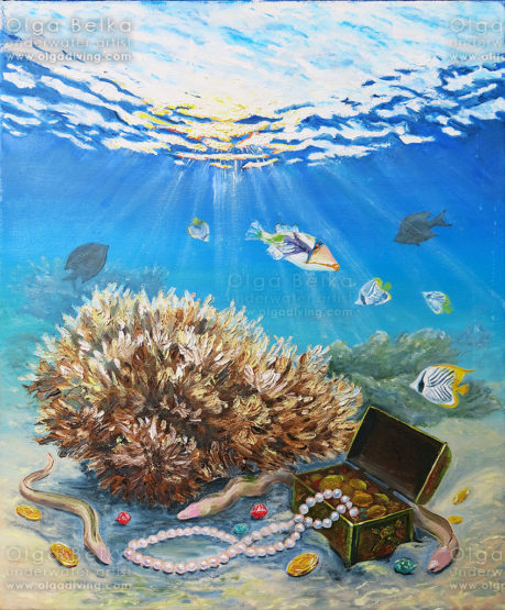 Underwater painting by Olga Belka - Treasurers on duty