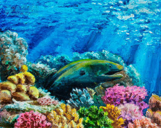 Underwater painting by Olga Belka - Who dared to disturb me